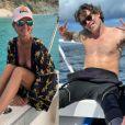 Laeticia Hallyday en vacances sur l'île de Saint-Barthélémy, été 2020 - Jalil Lespert sur cette même île avec elle, décembre 2020.
