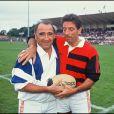 Archives- Claude Brasseur et Michel Creton au starde de rugby de Biarritz, le 31 août 1992.