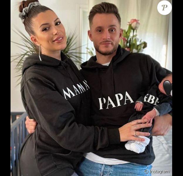 Maeva Martinez avec son mari Julien et son fils Gabriel, janvier 2021