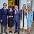 Prince Hussein, Salma bint Abdallah, le roi Abadallah et la reine rania, la princesse Iman - La famille royale de Jordanie à Sandhurst, UK, pour voir la graduation de la Princesse Salma bint Abdallah II à l'academie Militaire Royale le 24 novembre 2018.