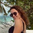 Vitaa sur la plage de l'île d'Hadahaa, aux Maldives.