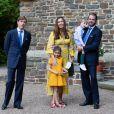 Le Prince Louis de Luxembourg et Leurs Altesses Royales le Prince Félix et la Princesse Claire, accompagnés de leurs enfants la Princesse Amalia et le Prince Liam - Baptême de S.A.R. le Prince Charles de Luxembourg, à l' Abbaye Saint-Maurice de Clervaux. Luxembourg, Clervaux, le 19 septembre 2020