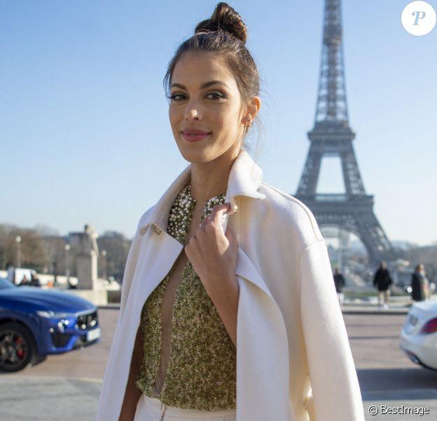 """Iris Mittenaere (Miss France et Miss Univers) au défilé de mode Haute-Couture printemps-été """"Stephane Rolland"""" à Paris, France"""