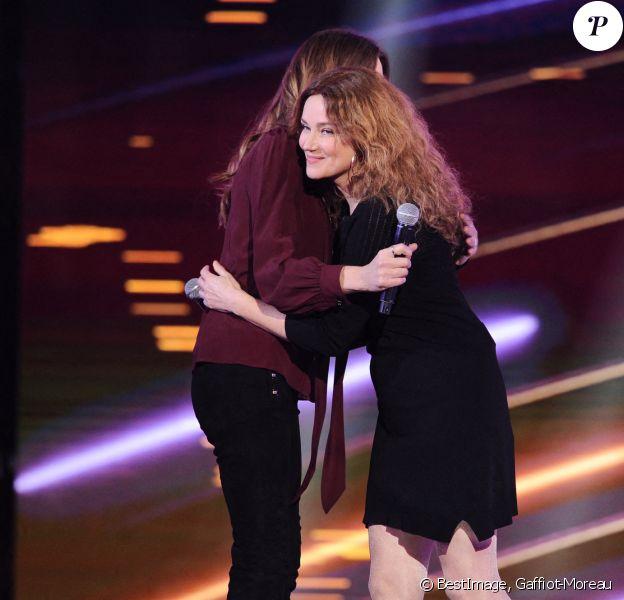 """Exclusif - Carla Bruni Sarkozy et Marine Delterme - Enregistrement de l'émission """"Duos Mystères"""" à la Seine Musicale à Paris. © Gaffiot-Moreau / Bestimage"""