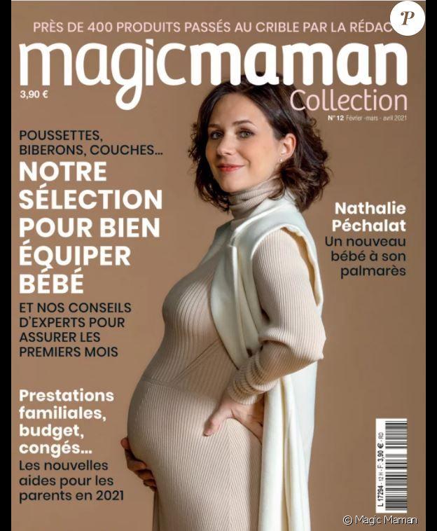 Nathalie Pechalat, enceinte, fait la couverture du magazine Magic Maman.