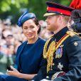 Le prince Harry, duc de Sussex, et Meghan Markle, duchesse de Sussex, première apparition publique de la duchesse depuis la naissance du bébé royal Archie lors de la parade Trooping the Colour, célébrant le 93ème anniversaire de la reine Elisabeth II, au palais de Buckingham.