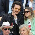 Amir Haddad et sa femme Lital - Célébrités dans les tribunes des internationaux de France de tennis de Roland-Garros à Paris. Le 9 juin 2019. © Jacovides-Moreau/Bestimage