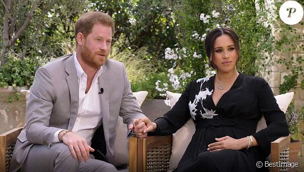 Le prince Harry et Meghan Markle (enceinte de son deuxième enfant) lors de leur interview avec Oprah Winfrey, le 7 mars 2021 sur CBS.