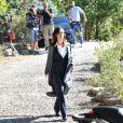 """Exclusif - Fabienne Carat durant le premier jour de tournage de la nouvelle saison de la série télévisée diffusée sur TF1 """"Section de Recherches"""", le 9 septembre 2019 au Rouret. © Bruno Bebert / Bestimage"""