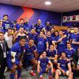 Charles Ovillon et l'équipe de France de rugby au Stade de France. Le 25 octobre 2020.