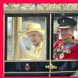 La reine Elizabeth II d'Angleterre et le prince Philip, duc d'Edimbourg, lors du mariage du prince William et de Kate Middleton. Le 29 avril 2011