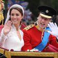 Kate Middleton et le prince William le jour de leur mariage à Londres.