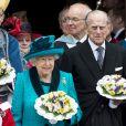 La reine Eliszbeth II d'Angleterre et le prince Philip, duc d'Edimbourg lors de la messe du Jeudi Saint en la cathédrale de Leicester, le 13 avril 2017.