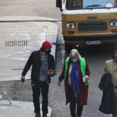"""Al Pacino sur le tournage d'une scène du film """"Gucci"""" à Rome, le 22 mars 2021."""