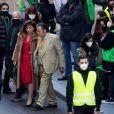 """Al Pacino et Lady Gaga, dans les peaux d'Aldo Gucci et Patrizia Reggiani, sur le tournage d'une scène du film """"House of Gucci"""". Rome, le 22 mars 2021."""