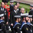 Le prince Andrew, duc d'York, le prince William, duc de Cambridge, Peter Phillips, le prince Harry, duc de Sussex, David Armstrong-Jones, comte de Snowdon, Sir Timothy Laurence - Arrivées aux funérailles du prince Philip, duc d'Edimbourg à la chapelle Saint-Georges du château de Windsor, le 17 avril 2021.