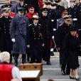 """La reine Elisabeth II, le prince Philip, duc d'Edimbourg et le roi Willem-Alexander des Pays-Bas, Andrew, duc d'York, le prince Harry, le prince William - Cérémonie du souvenir durant le """"Remembrance Day"""" au Cénotaphe de Whitehall à Londres en 2015."""