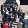 Le prince Charles, prince de Galles, le prince Andrew, duc d'York, le prince William, duc de Cambridge, David Armstrong-Jones, comte de Snowdon, Peter Phillips, la princesse Anne, le prince Edward, comte de Wessex, le prince Harry, duc de Sussex, Sir Timothy Laurence - Arrivées aux funérailles du prince Philip, duc d'Edimbourg à la chapelle Saint-Georges du château de Windsor, Royaume Uni, le 17 avril 2021.
