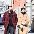 Katie Holmes et son compagnon Emilio Vitolo Jr se promènent dans les rues de New York, le 8 mars 2021.