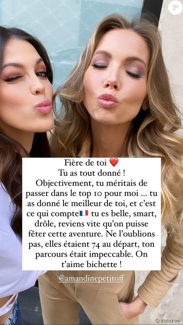Amandine Petit (Miss France) termine dans le top 21 du concours miss Univers. Iris Mittenaere a tenu à la féliciter sur Instagram.