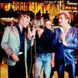 Eddy Mitchell, Gérard Depardieu et Johnny Halliday à la télévision, en 1980.