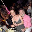 Eddy Mitchell et Muriel fête leur 28 ans de mariage à Saint-Tropez le 15 août 2008.