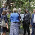 Francis Vandenhende, Olivier Minne et Pierre Bonte à la sortie des obsèques de la journaliste Jacqueline Caurat (officier de l'ordre national du Mérite) en l'église Notre-Dame de l'Assomption de Passy à Paris, France, le 2 juin 2021.