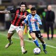 Sandro Tonali et Lorenzo Insigne lors du match de football AC Milan - Naples (0-1) à Milan, le 14 mars 2021. © Image Sport / Panoramic / Bestimage