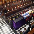 La reine Elizabeth II d'Angleterre assiste aux funérailles de son défunt mari, le prince Philip, duc d'Edimbourg à la chapelle Saint-Georges du château de Windsor. Le 17 avril 2021.