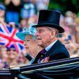 La reine Elizabeth II et le prince Philip, duc d'Edimbourg au défilé Trooping the Colour avec la reine Elisabeth II d'Angleterre. Le 17 juin 2017.