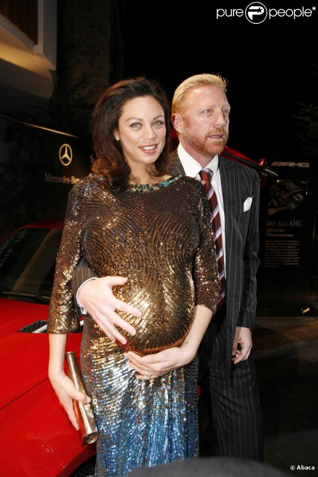 Boris Becker et son épouse, enceinte, aux Laureus Media Awards 2009. 23/11/09