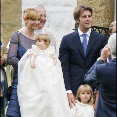 Baptême de la princesse Luisa de Savoie avec son père le prince Emmanuel Philibert de Savoie, sa mère l'actrice Clotilde Courau et sa soeur la princesse Vittoria, à Gstaad (en Suisse) en 2007.