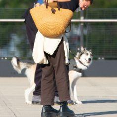 Exclusif - Zoe Kravitz et son mari Karl Glusman au départ de l'aéroport JFK avec leur chien Scout à New York le 31 aout 2020.