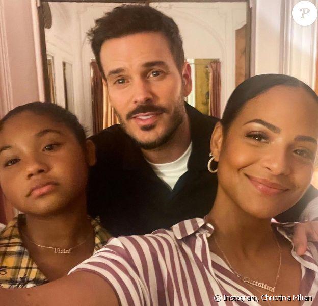 M. Pokora, Christina Milian et sa fille Violet dans les coulisses du Théâtre de la Madeleine. Le 17 septembre 2021.
