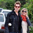 Kevin Bacon et sa femme Kyra Sedgwick sur une plage en Uruguay, le 23 décembre 2009.