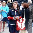 Leighton Meester dans la peau de Blair Waldorf, sur le tournage de Gossip Girl à Manhattan le 7 avril 2008