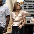 Leighton sur le tournage de Gossip Girl, le 25 août 2008 à New York