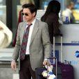 Robert Downey Jr. sur le tournage de  Due Date , de Todd Phillips, à San Bernardino, en décembre 2009.