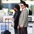 Robert Downey Jr. et Zack Galifianakis sur le tournage de  Due Date , de Todd Phillips, à San Bernardino, en décembre 2009.