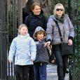 Kate Winslet et ses enfants à New York, le 28 janvier 2010