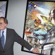Pal Sarkozy devant le tableau qu'il a consacré à Carla Bruni, sa bru, à l'Espace Pierre Cardin, le 24 avril 2010. Le tableau s'appelle CBS