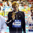 """Amaury Leveaux bat le record du Monde du 100m NL en petit bassin en 44""""94 aux Championnats d'Europe de Rijeka en 2008"""