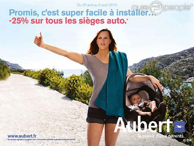 Mai 2010 : Laure Manaudou, maman depuis le 2 avril, apparaît dans la nouvelle campagne du n°1 de la puériculture, Aubert.