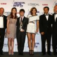 Au centre : Bonnie Wright, Daniel Radcliffe et Emma Watson lors des National Movie Awards à Londres le 26 mai 2010