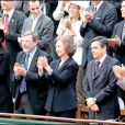 La reine Sofia, Rama Yade, Bertrand Delanoë, François Fillon au tournoi de Roland-Garros, le 6 juin 2010.