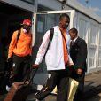 Salomon Kalou et la délégation ivoirienne viennent de poser le pied en Afrique du Sud, à l'aéroport de Johannesbourg, le 10 juin 2010.
