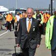 Sven-Goran Eriksson, le sélectionneur de l'équipe ivoirienne vient de poser le pied en Afrique du Sud, à l'aéroport de Johannesbourg, le 10 juin 2010.