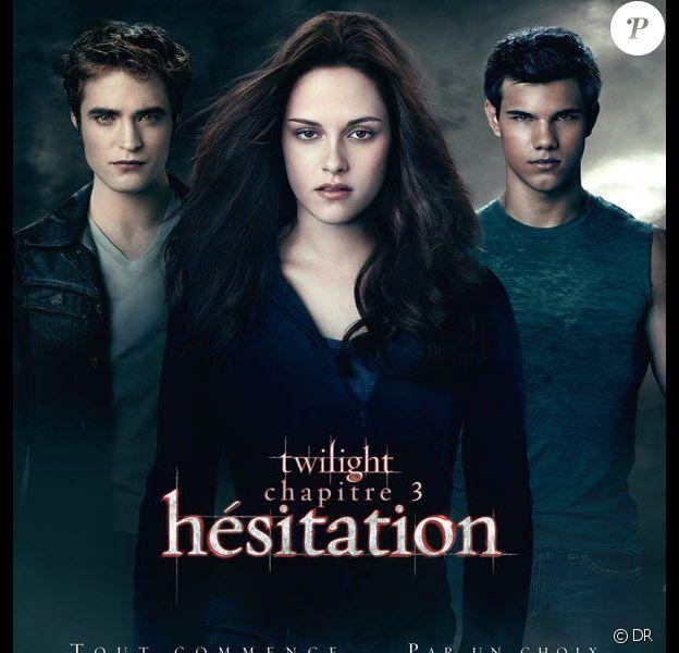 Robert Pattinson, Kristen Stewart et Taylor Lautner, à l'affiche de Twilight - Hésitation.