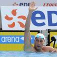 Fabien Gilot, vainqueur du 100m nage libre, lors du 200m papillon, à l'occasion de l'Open EDF, qui se tient au Lagardère Club de Paris, le 26 juin 2010.
