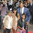 Jaden Smith, Jada-Pinkett Smith, Will Smith et Willow Smith à l'occasion de l'avant-première britannique de  Karate Kid , à Leicester Square, à Londres, le 15 juillet 2010.